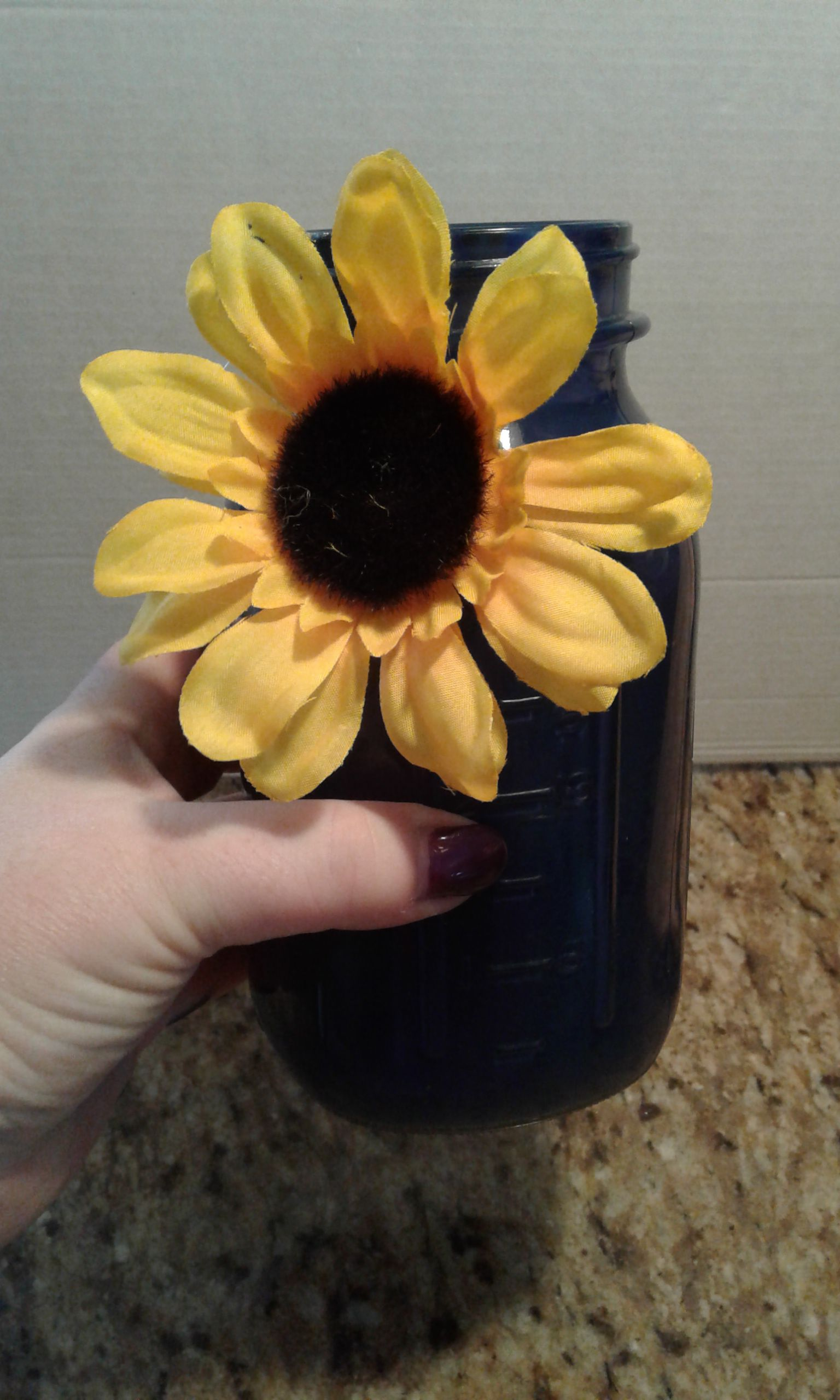 hand wedding chic mason jar ball jars sunflower vases painted shabby