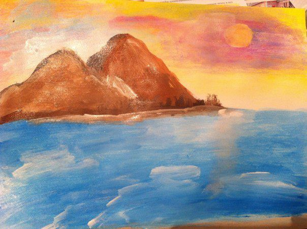 art acrylic paint ocean canvas