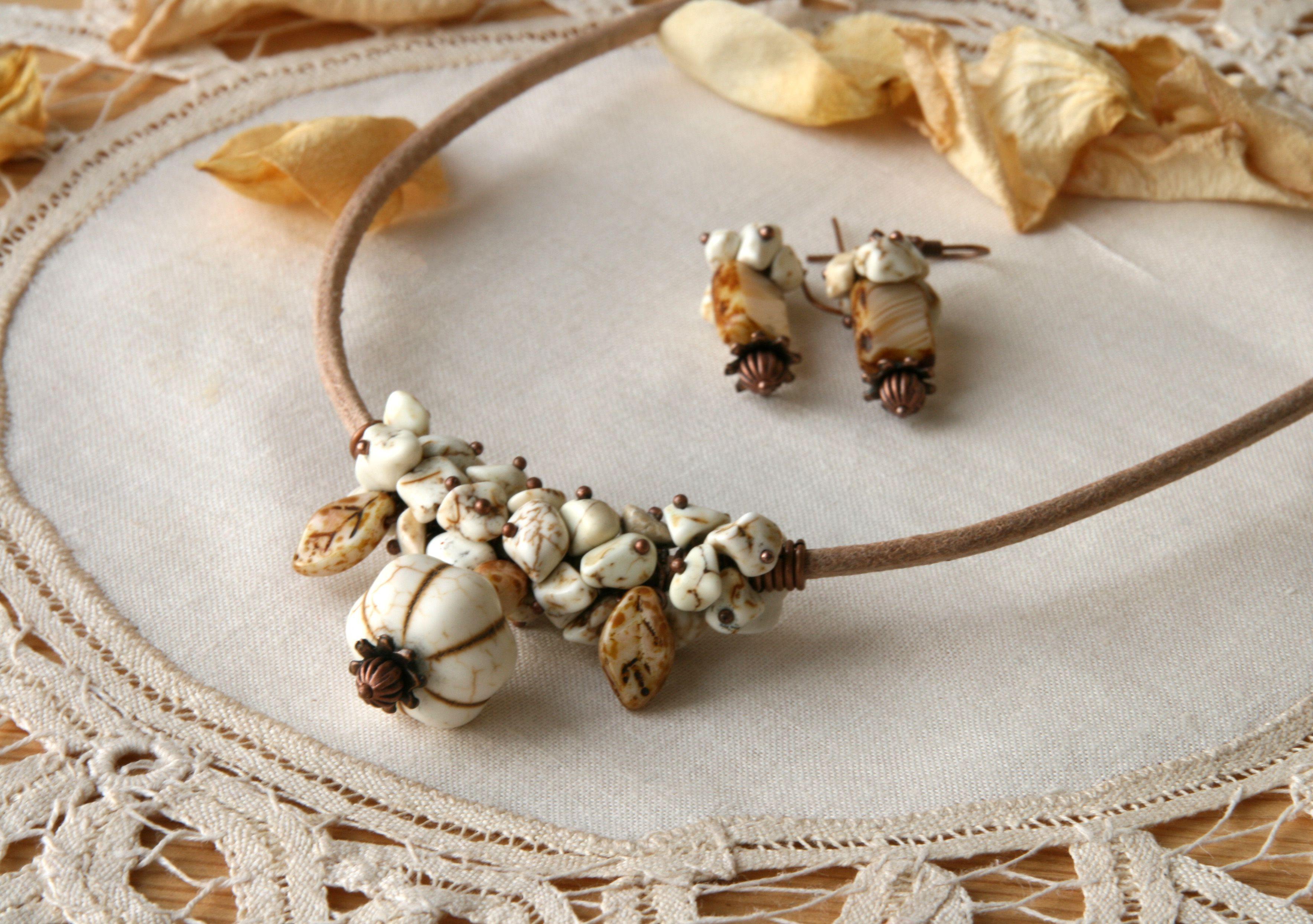 set earrings necklace tajmahal howlite