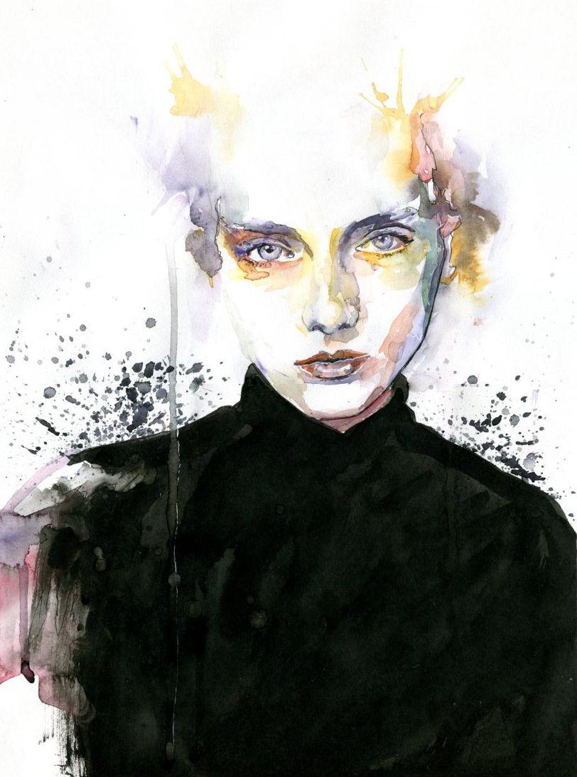 art painting portrait elegant black watercolor