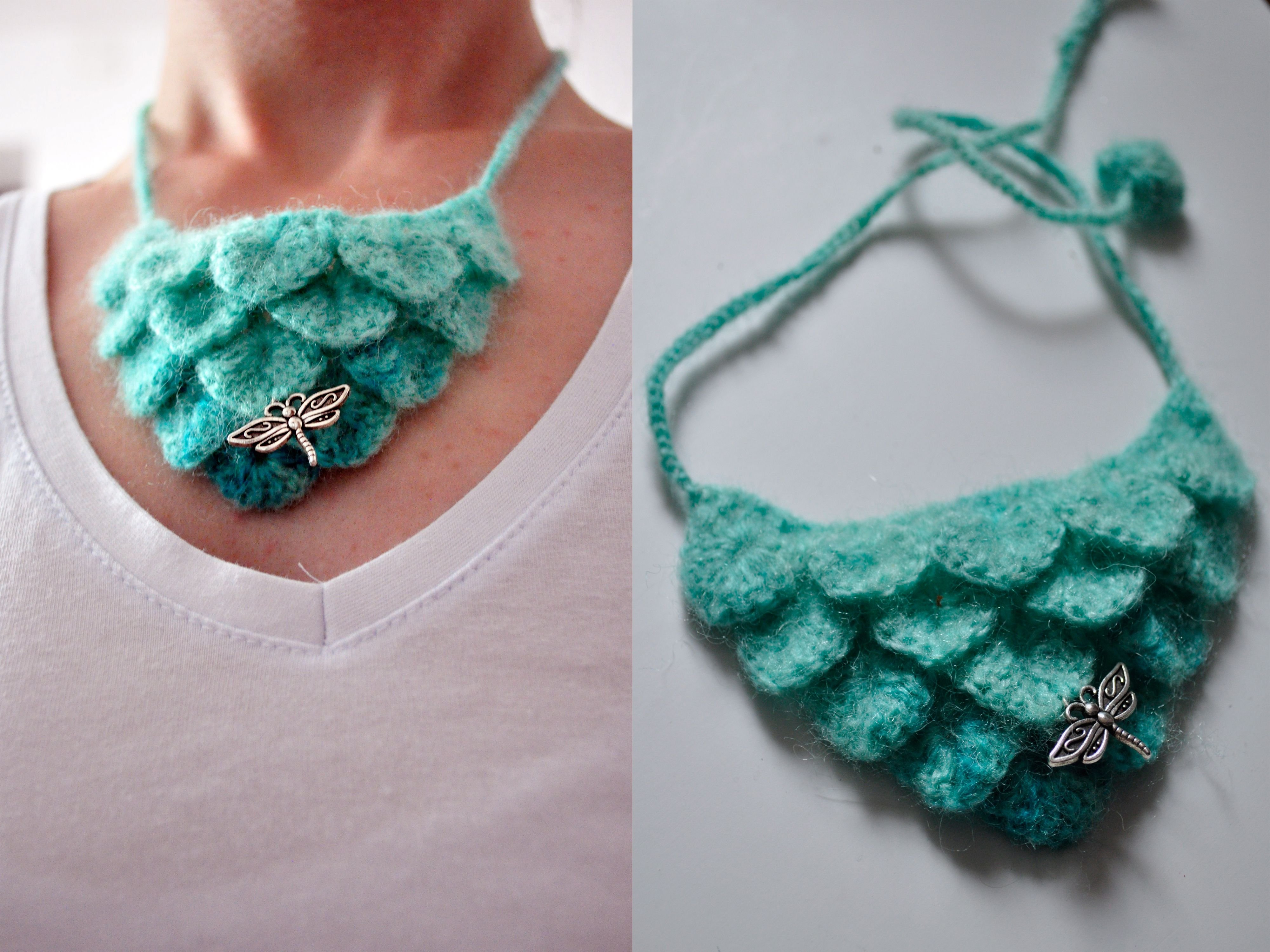 crochet blue necklace handmade summer