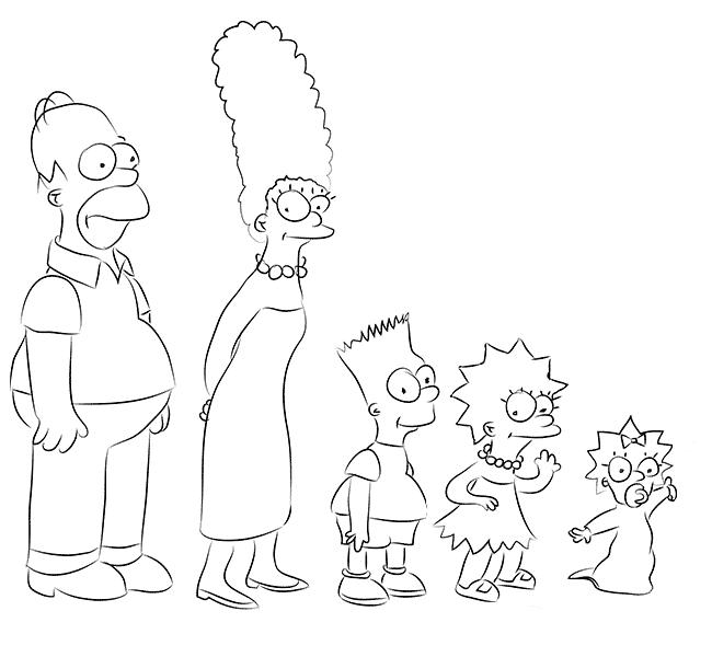 draw liza bart marge homer simpsons family art