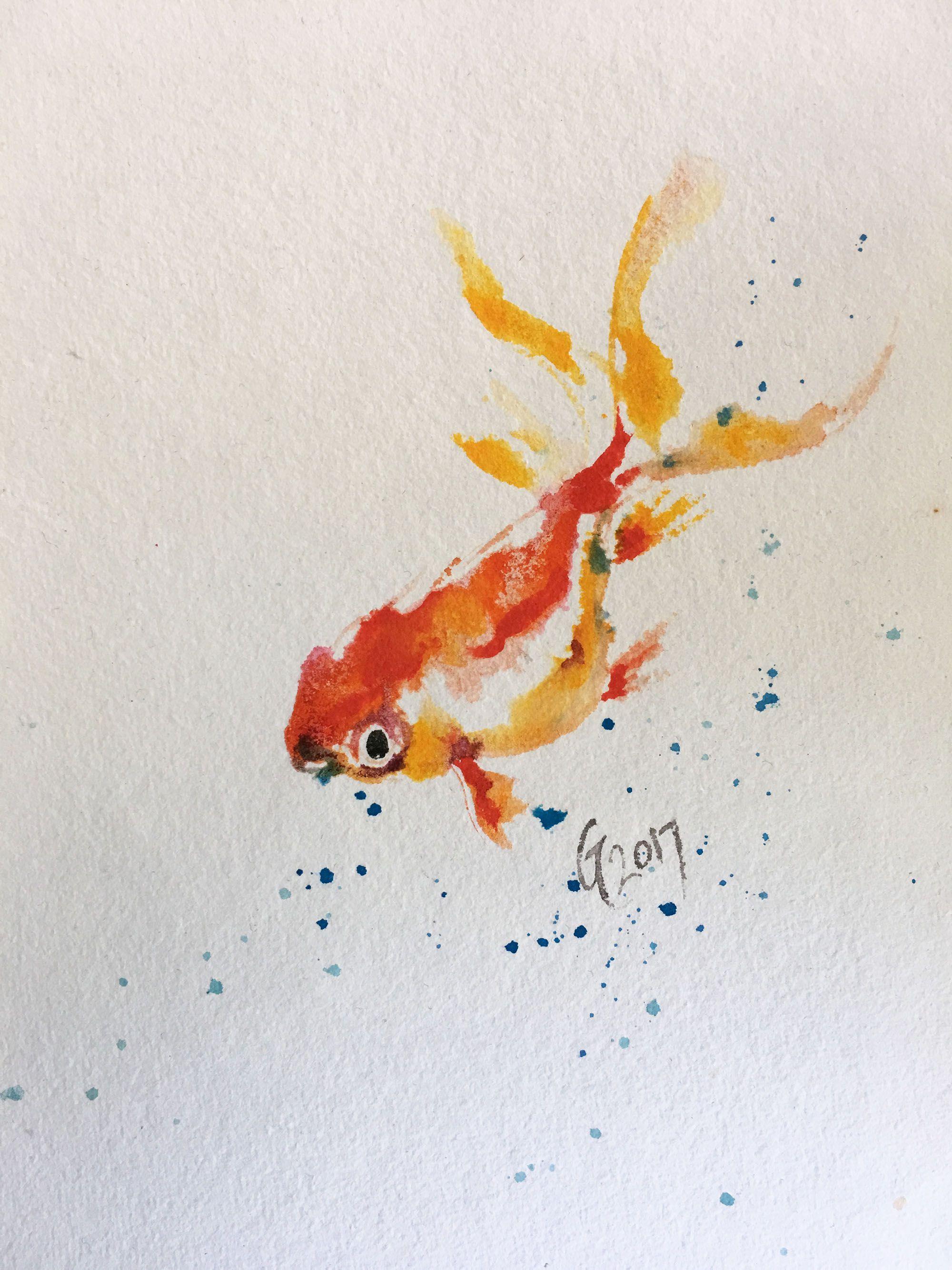 original goldfish watercolor fish painting art