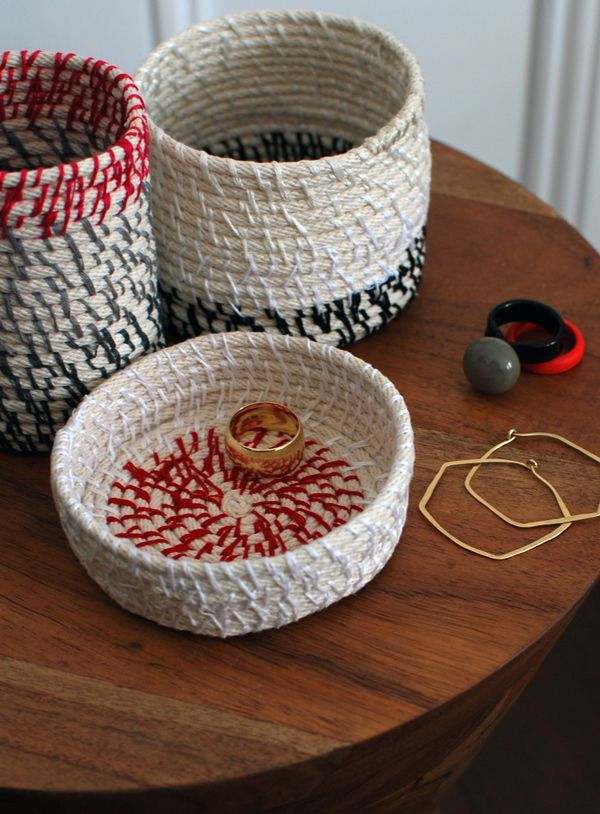 gift floss coiling basket rope thread tutorial