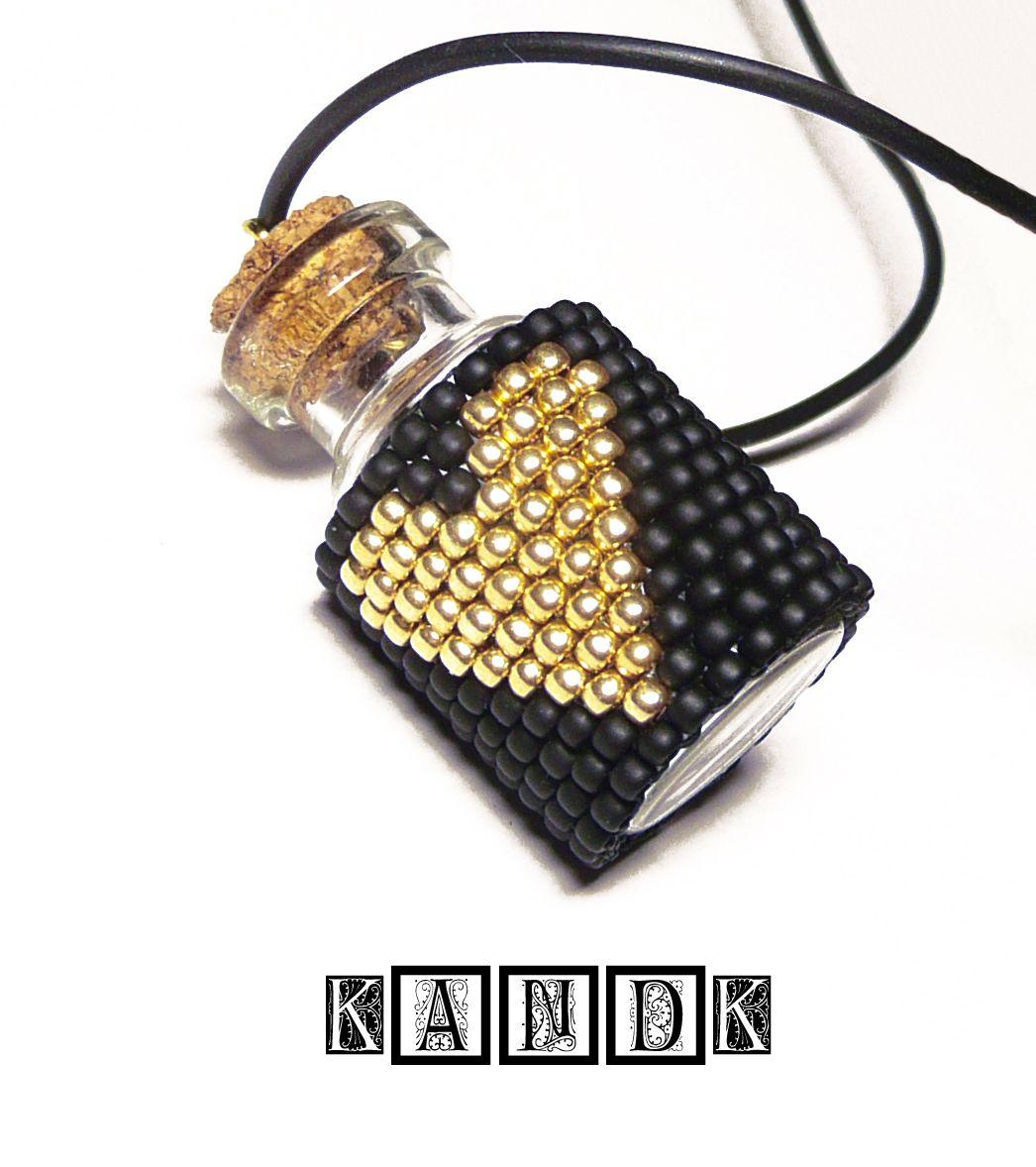 love heart beads pendant japan bottle