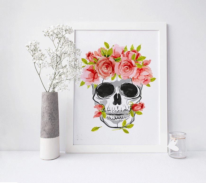 roses decor and digital skull wall skulls floral print drawing prints artwork painting art