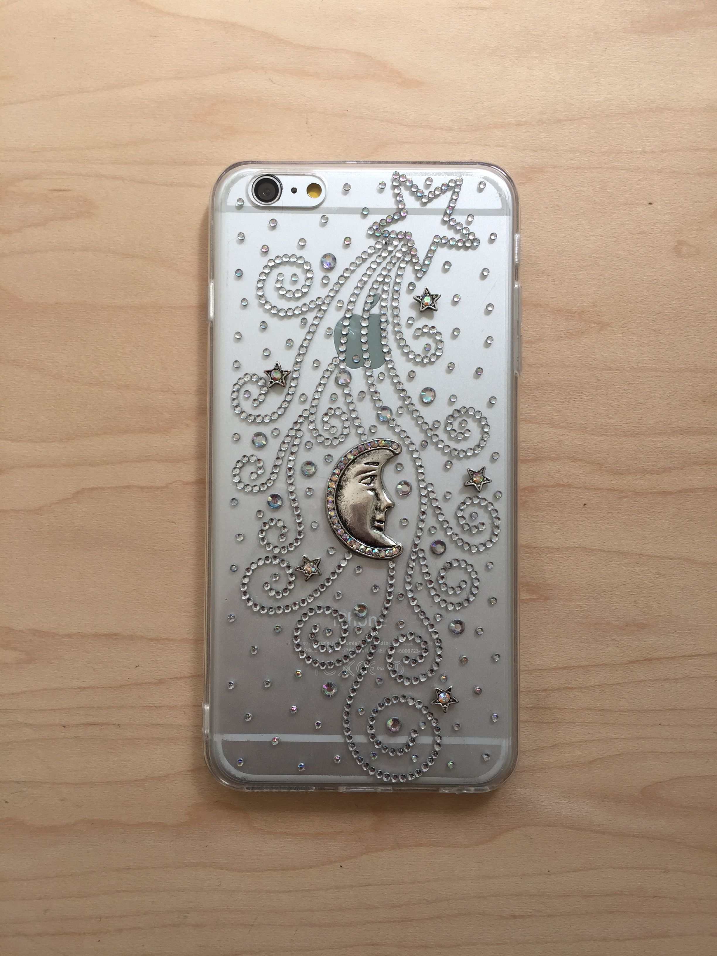bling case transparent bedazzled smartphone phone stars plus crescent rhinestone iphone moon