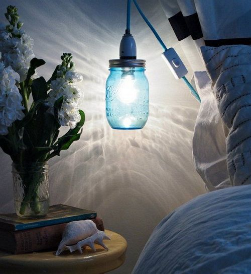 mason lights glow make blue jar