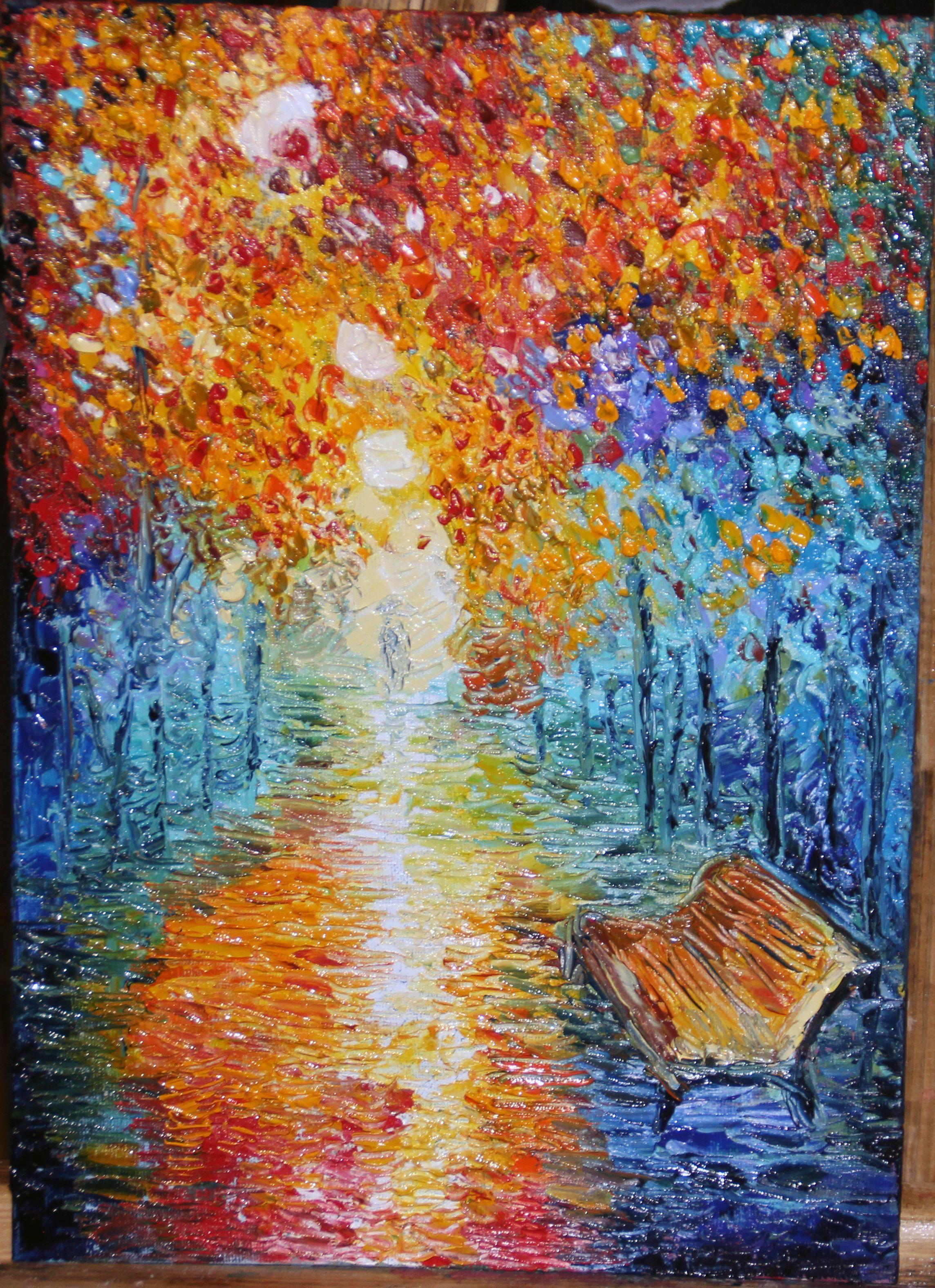 painting oil landscape autumn