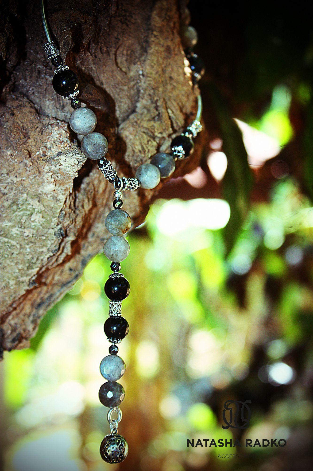 wristlet present set labradorite hawk's-eye earrings necklace jewelry