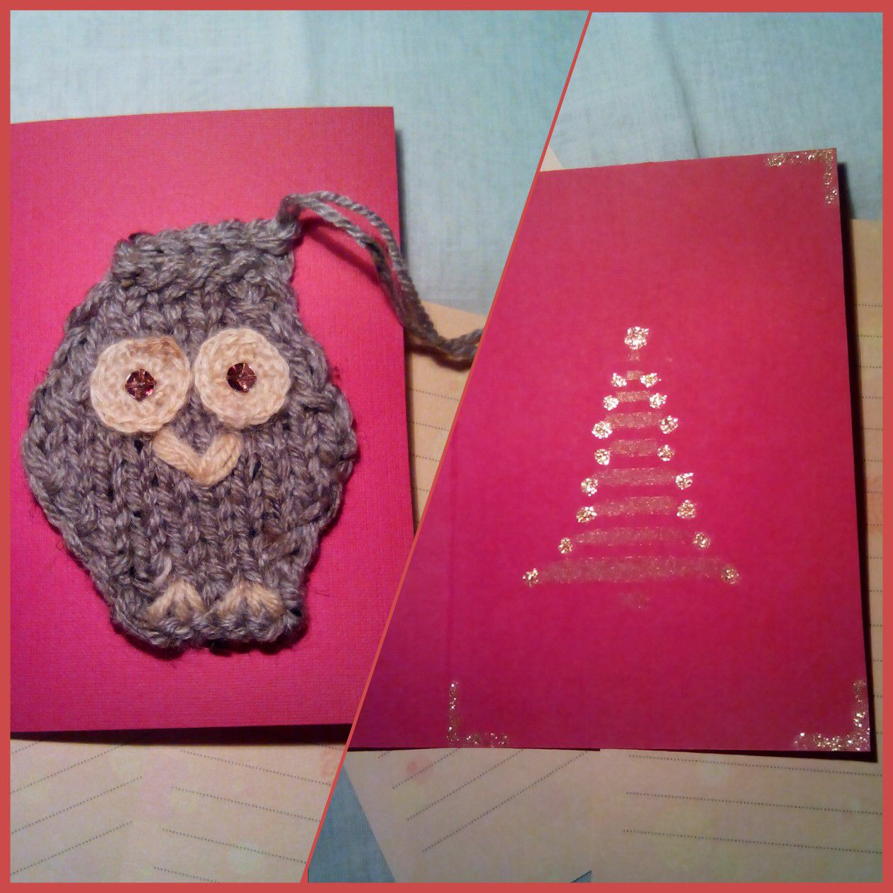 knit gifts newyear christmas handmade owls postcards