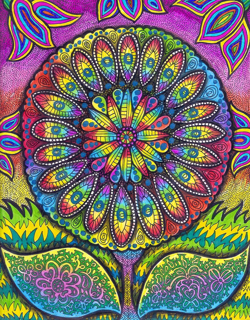 mandala colorful zentangle flowerart hgcreativearts colorfulart abstract drawing flower artwork art