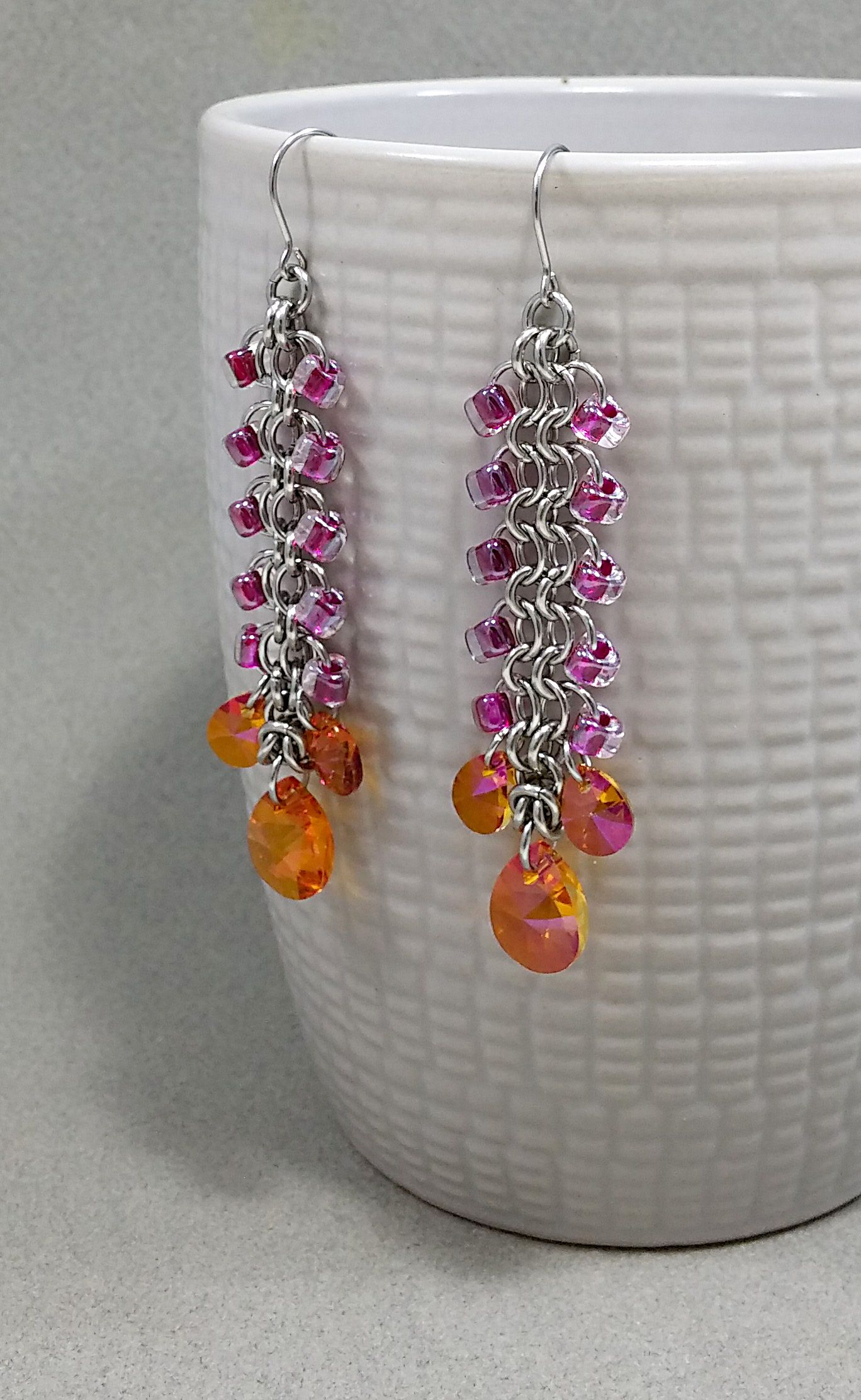 earrings fuscia astralpink crystal hotpink swarovski pink chainmail steel