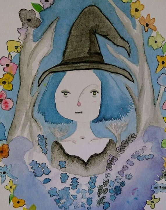 pagan gothic witchy wicca christmas illustration watercolor witch gift nature artwork art halloween etsy