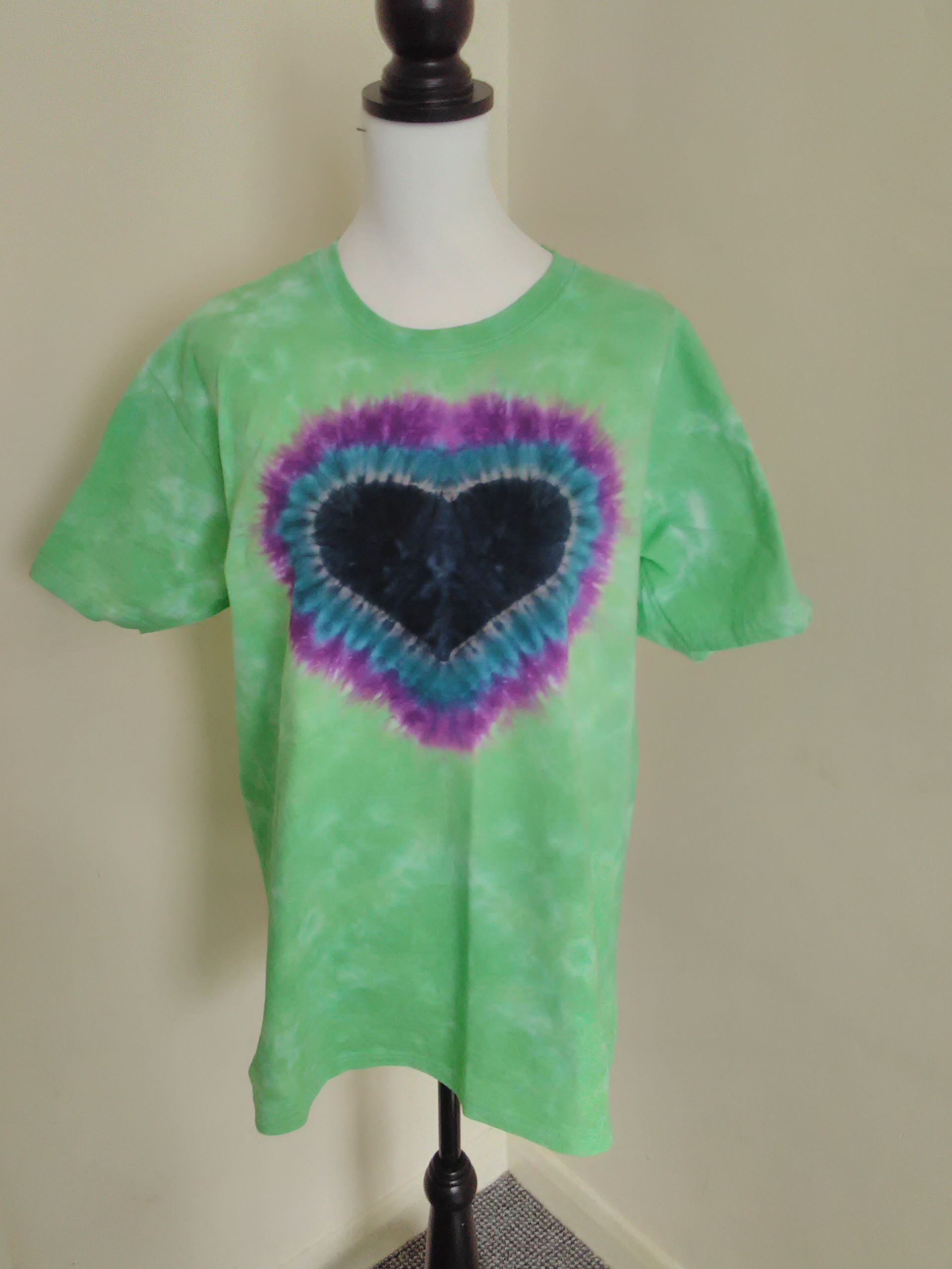 tiedyet green hippy boho black men shirt heart women tiedye unisex purple love