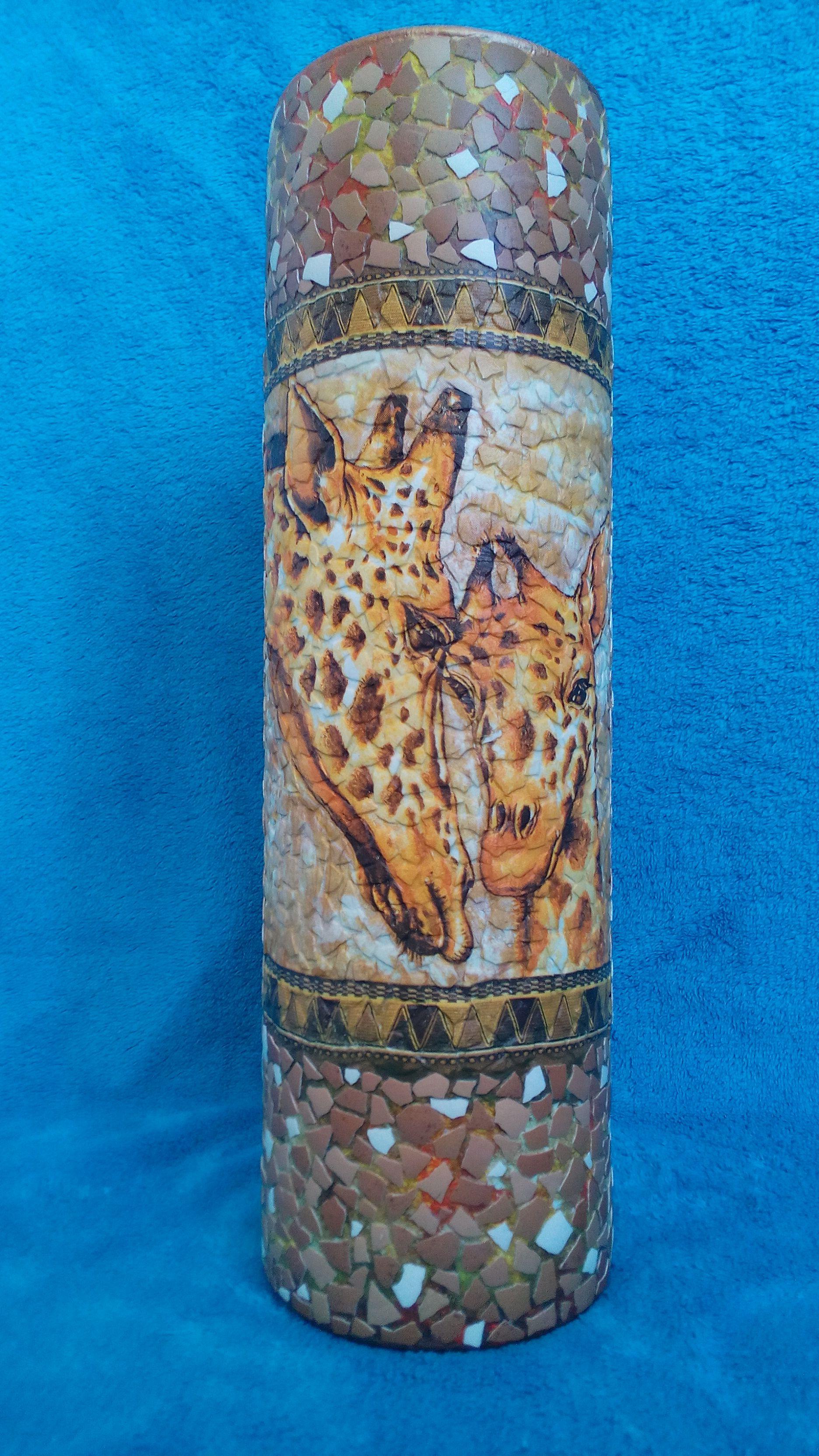 giraffe interior vase decoupage
