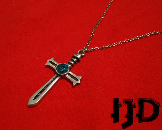 pendant with sword celtic medallion cross jewelry necklace alternative silver gothic stone