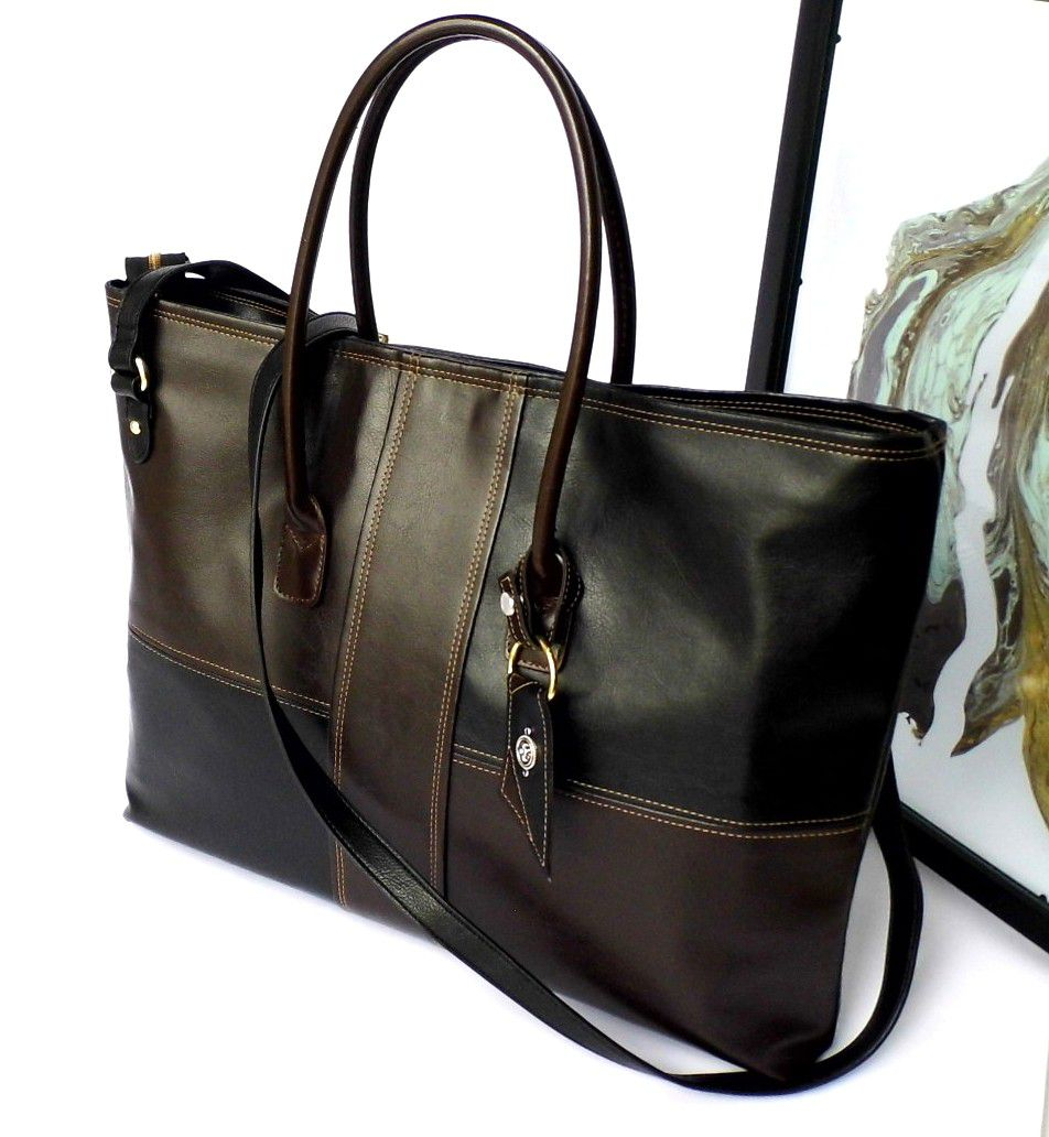 bag birthday leather brown vegan gift laptop black tote christmasgift faux large her