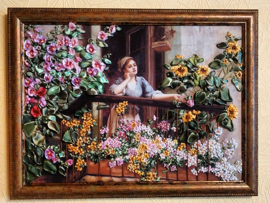 flowers interior silk picture painting art
