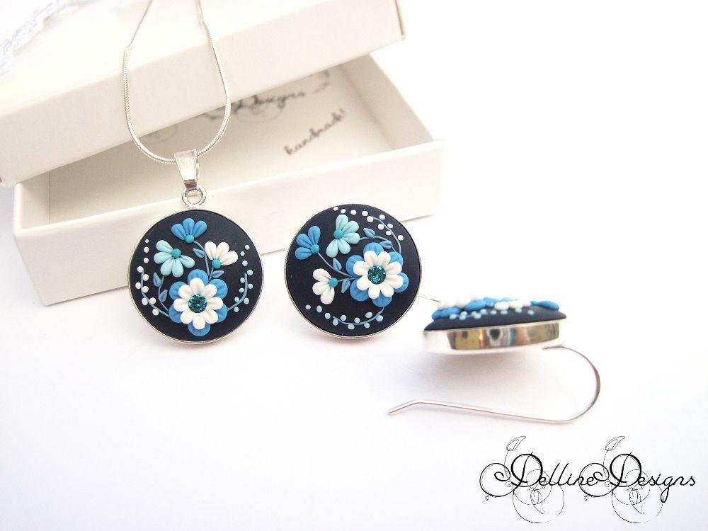 sterling unique swarowski applique pendant filigree rhinestones set present floral earrings polymer jewelry handmade blue clay silver