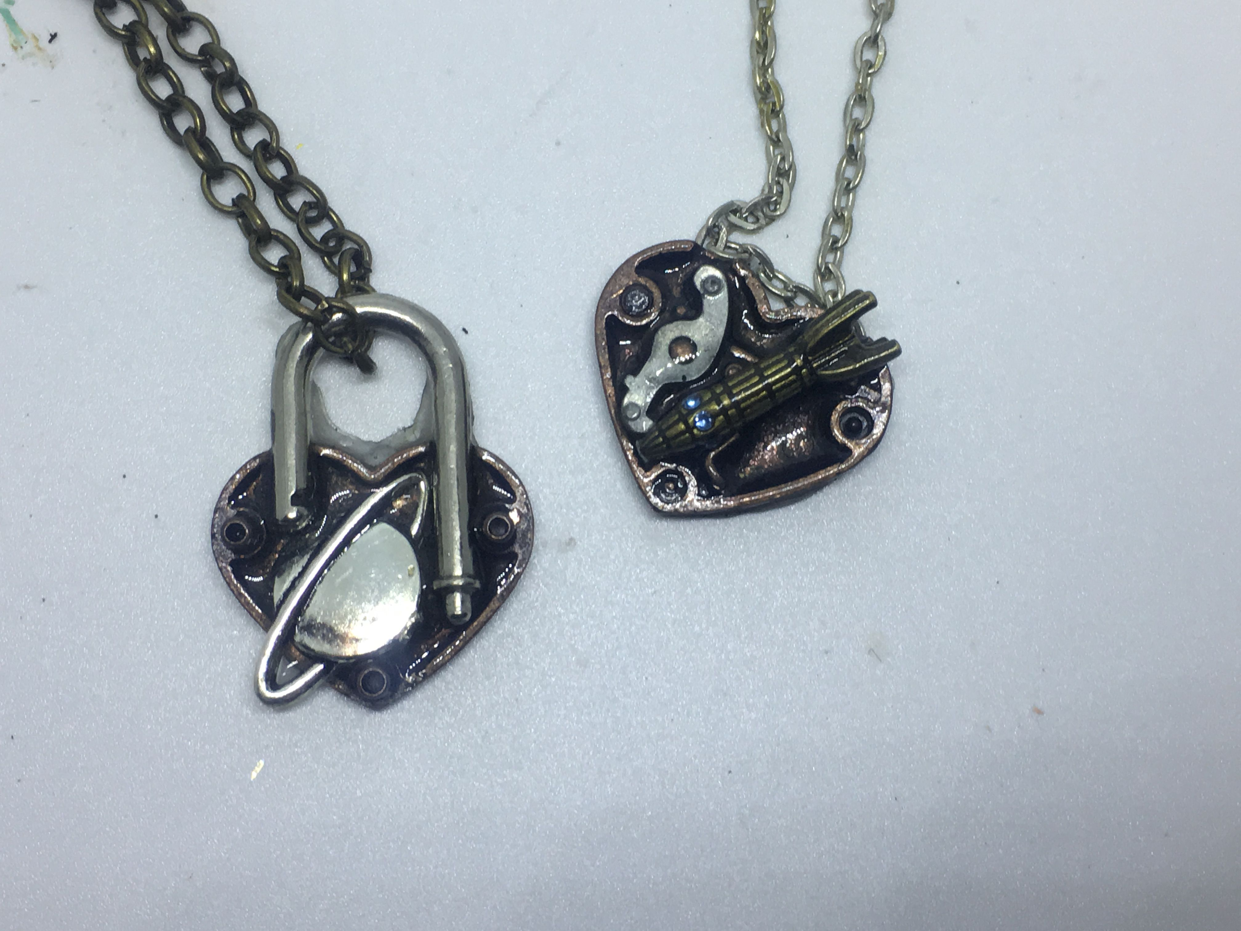 love heart and moon locket necklace ship rocket necklaces you the back padlock matching planet