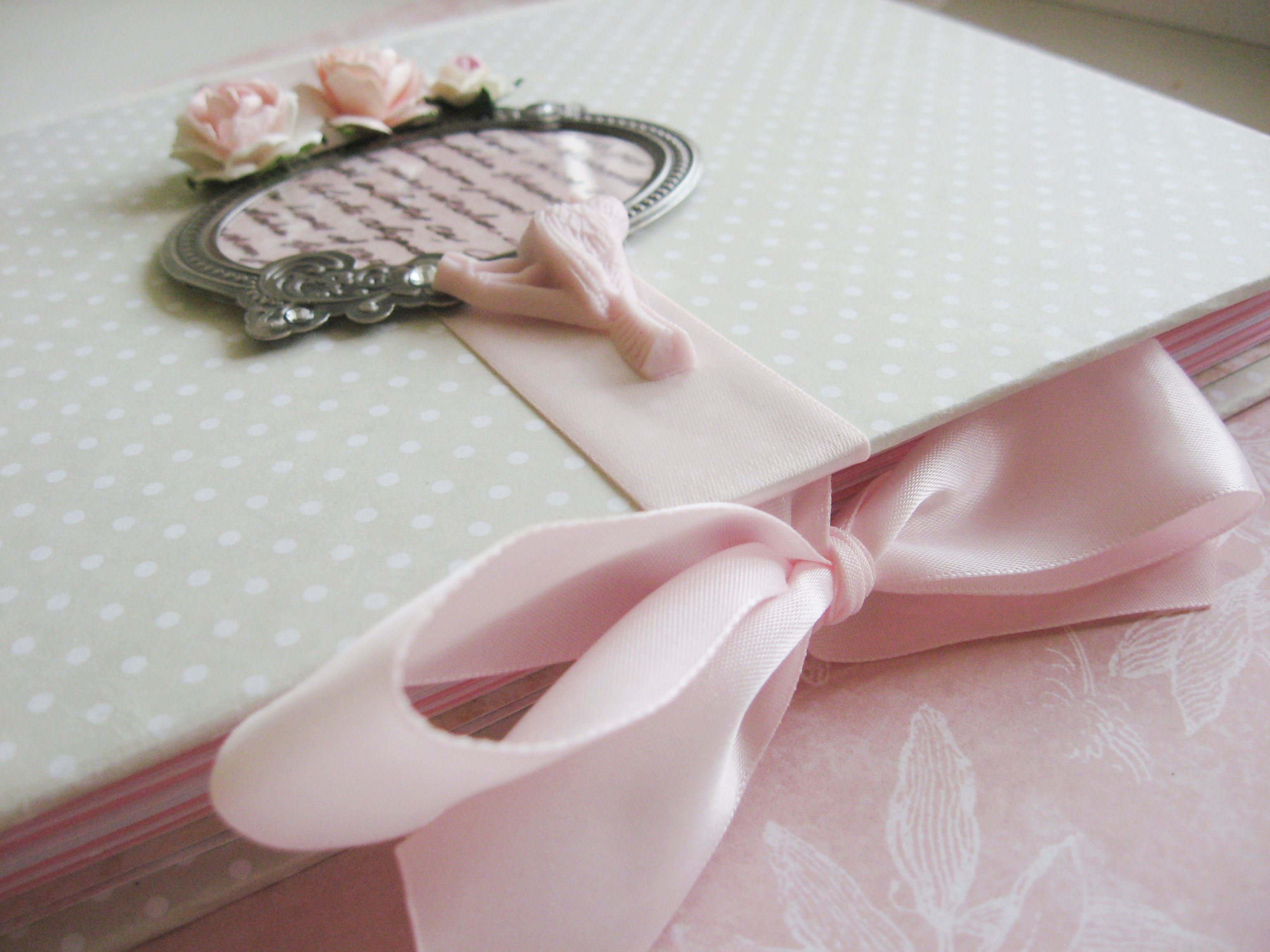 white pink ribbons notebook paper