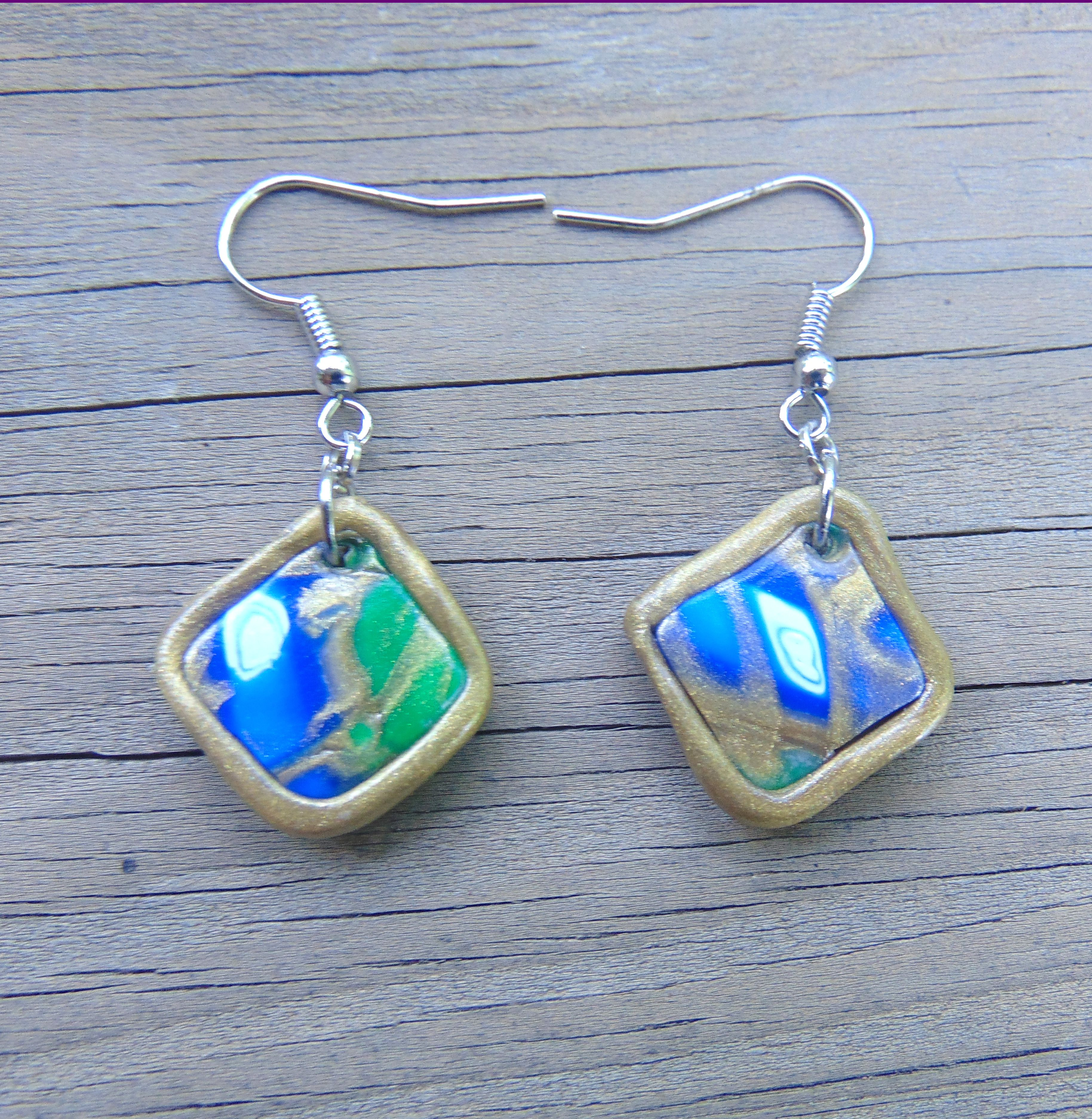 colorful artsy white diamond green gold polymer earrings pattern jewelry handmade blue clay silver handcrafted sculpey square