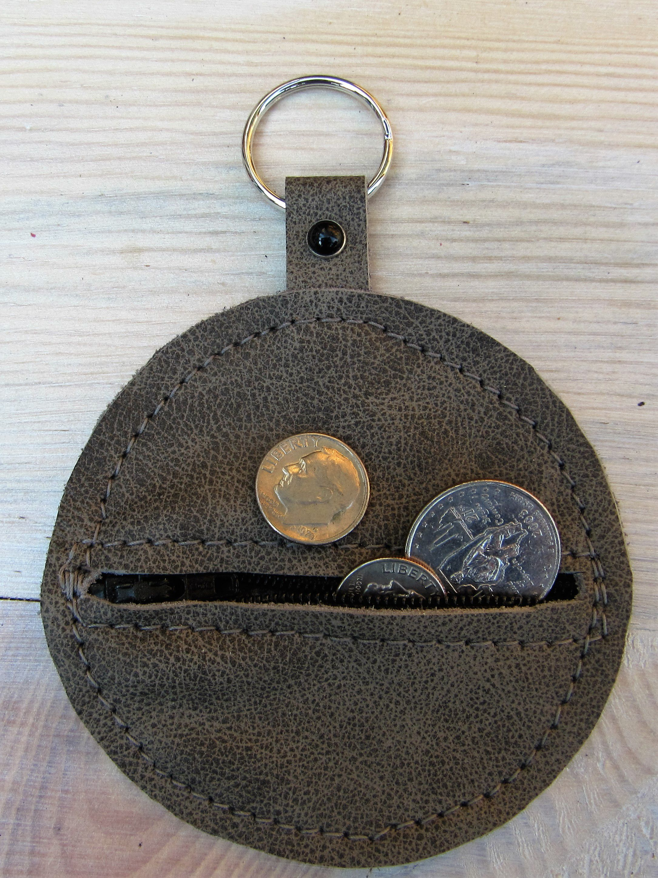 leather coin gray purse zip pouch chain key genuine earbud