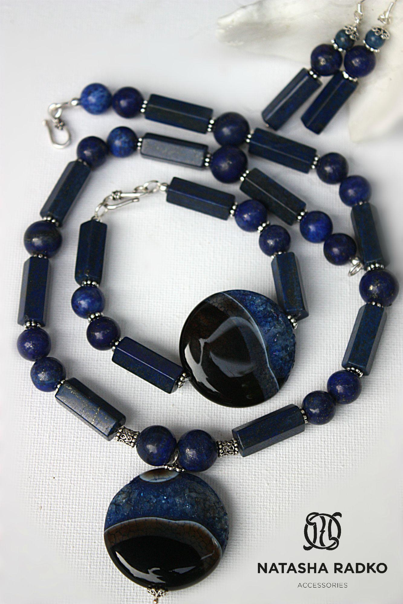 jewelries set agate silver lazuli