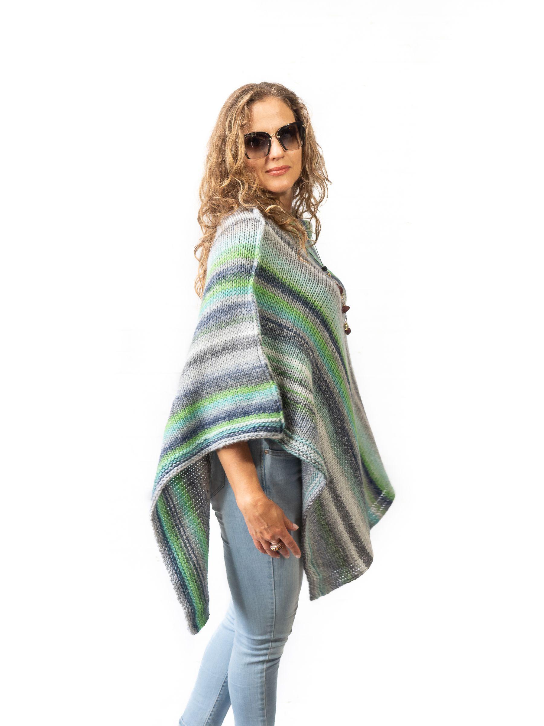 womenclothing gray sweater knitting poncho