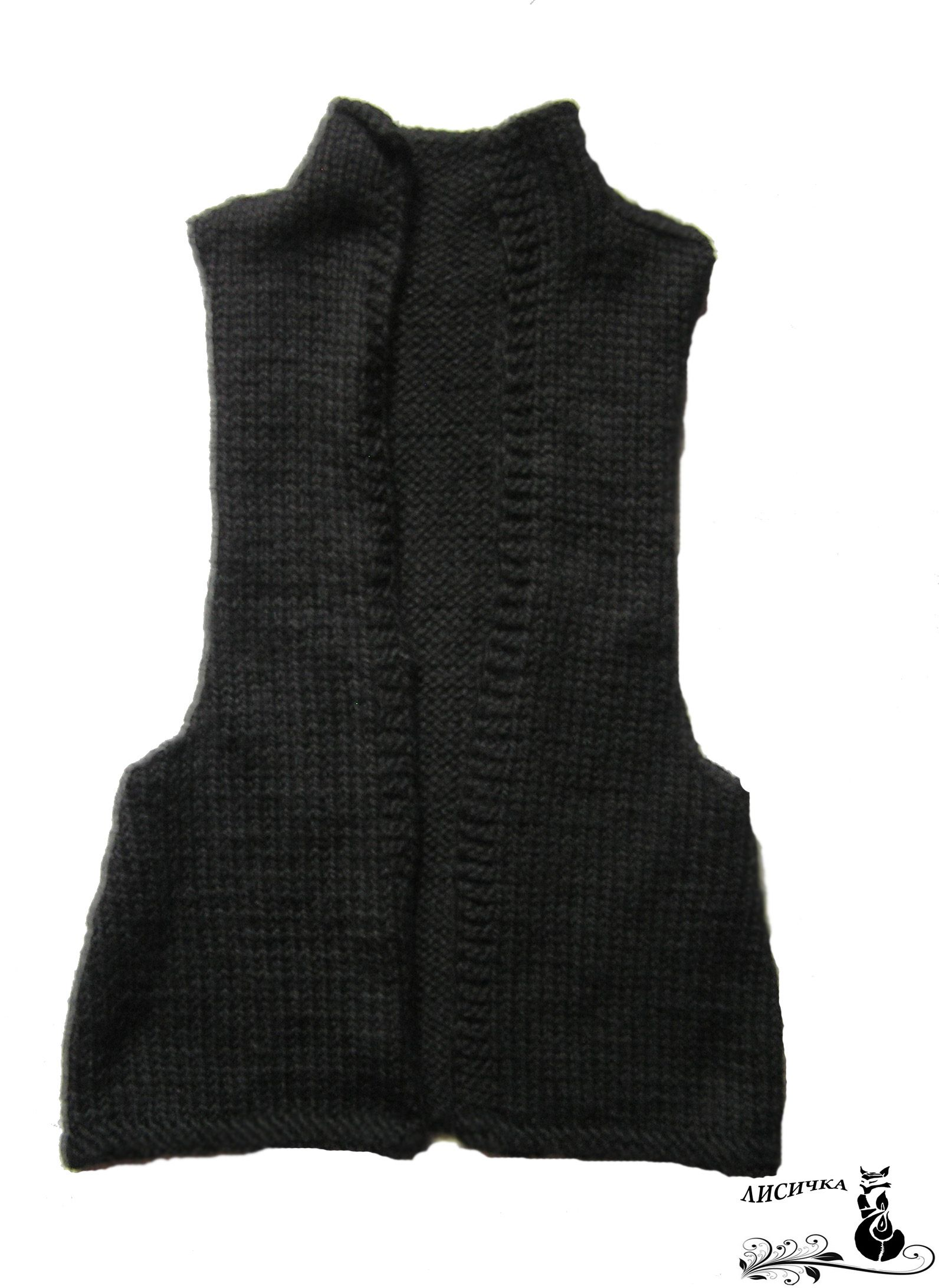 clothes wool winter vast knitting black