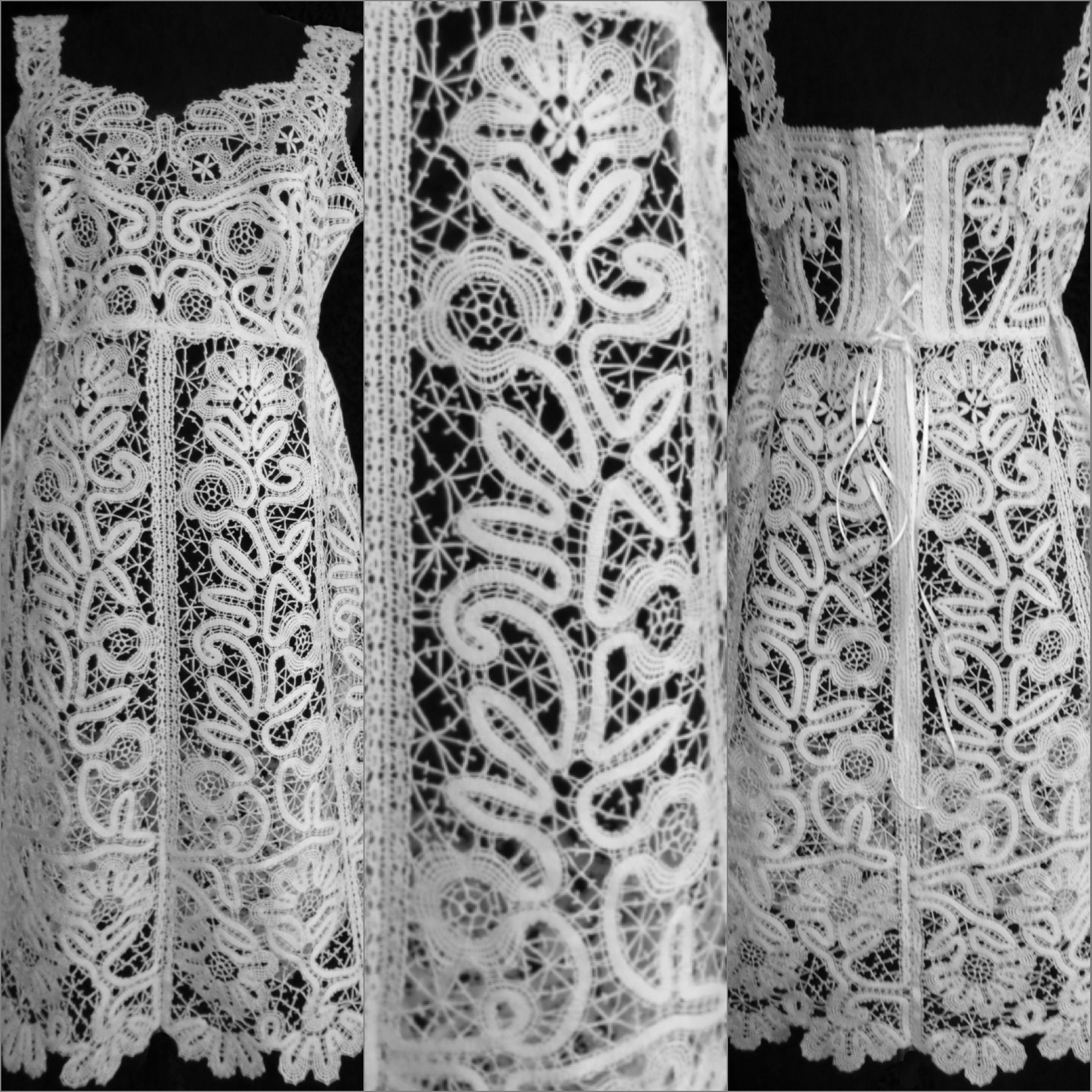 dress clothes lace white bobbines knitting