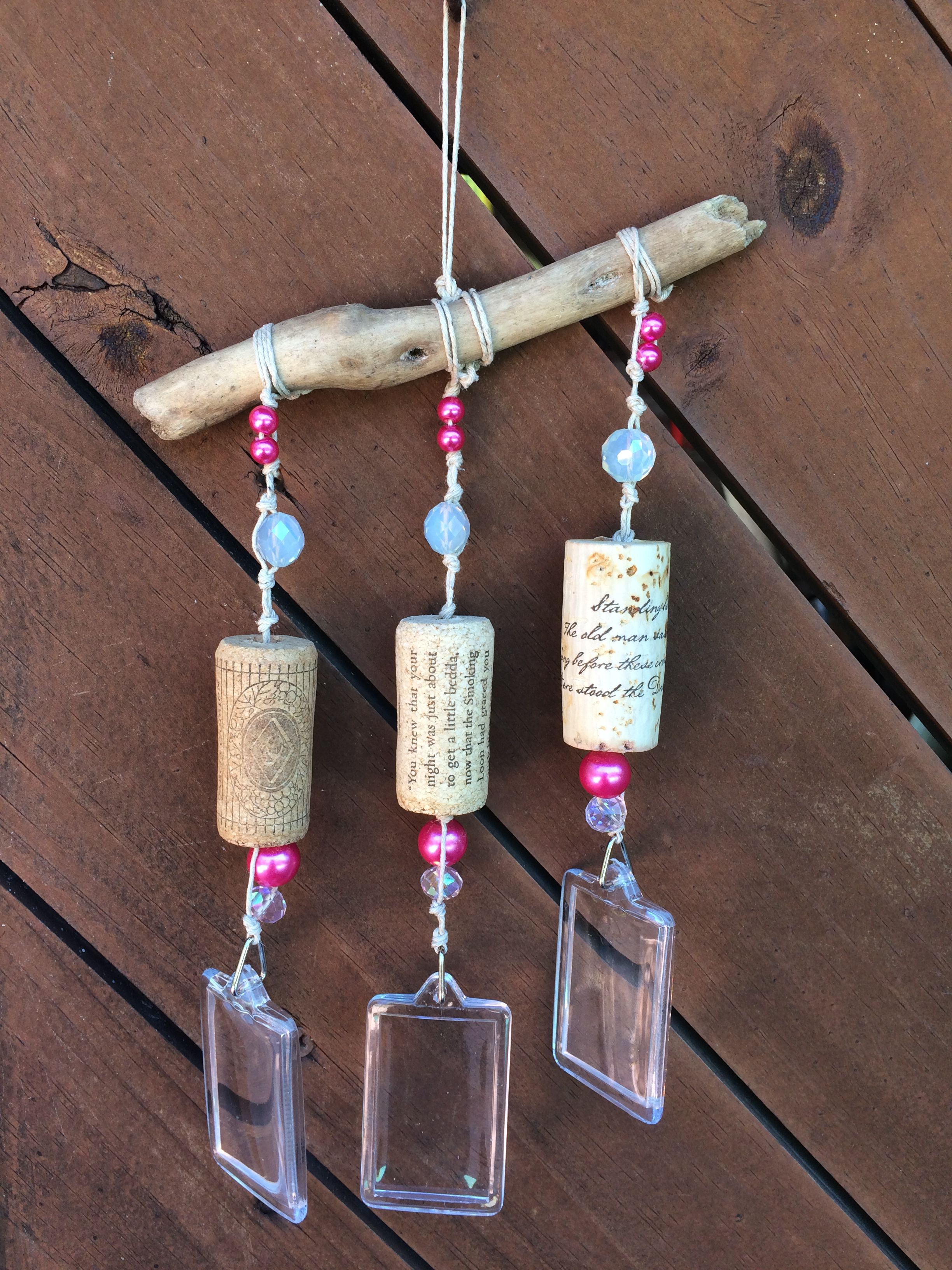 boho decor pearls photo wine frame cork outdoor windshime driftwood