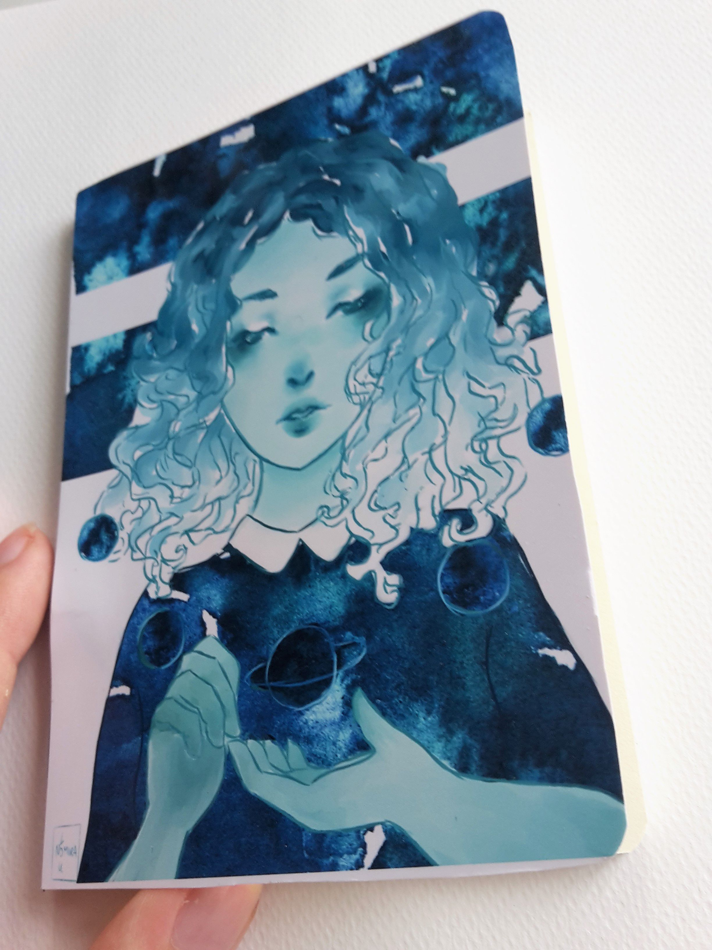 girl artist cute diy galaxy bookantasy notebook watercolor handmade color planets nebula sketchbook drawing digitalart painting art