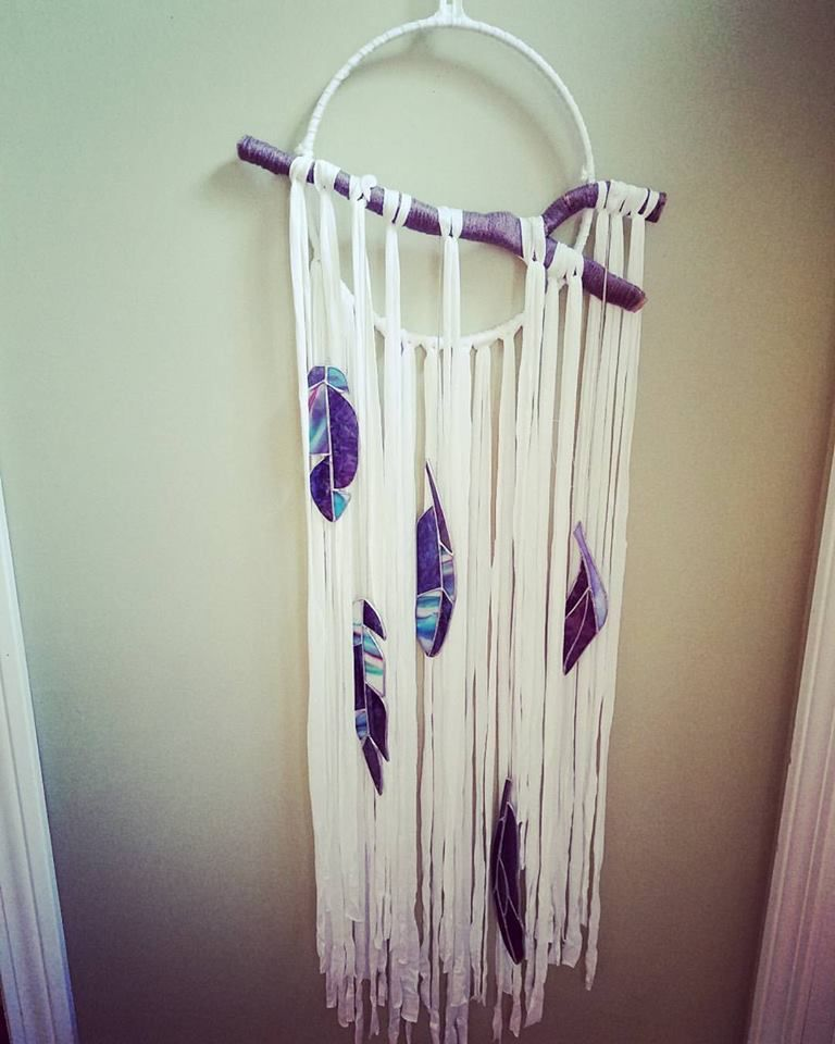 feather stained dreamcatcher glass