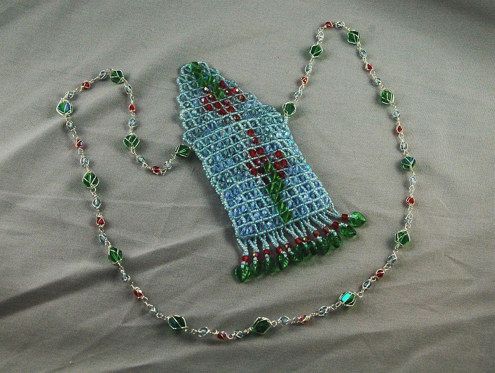 flower weave unique amulet necklace jewelry weaving bead spiritual raw american native right angle