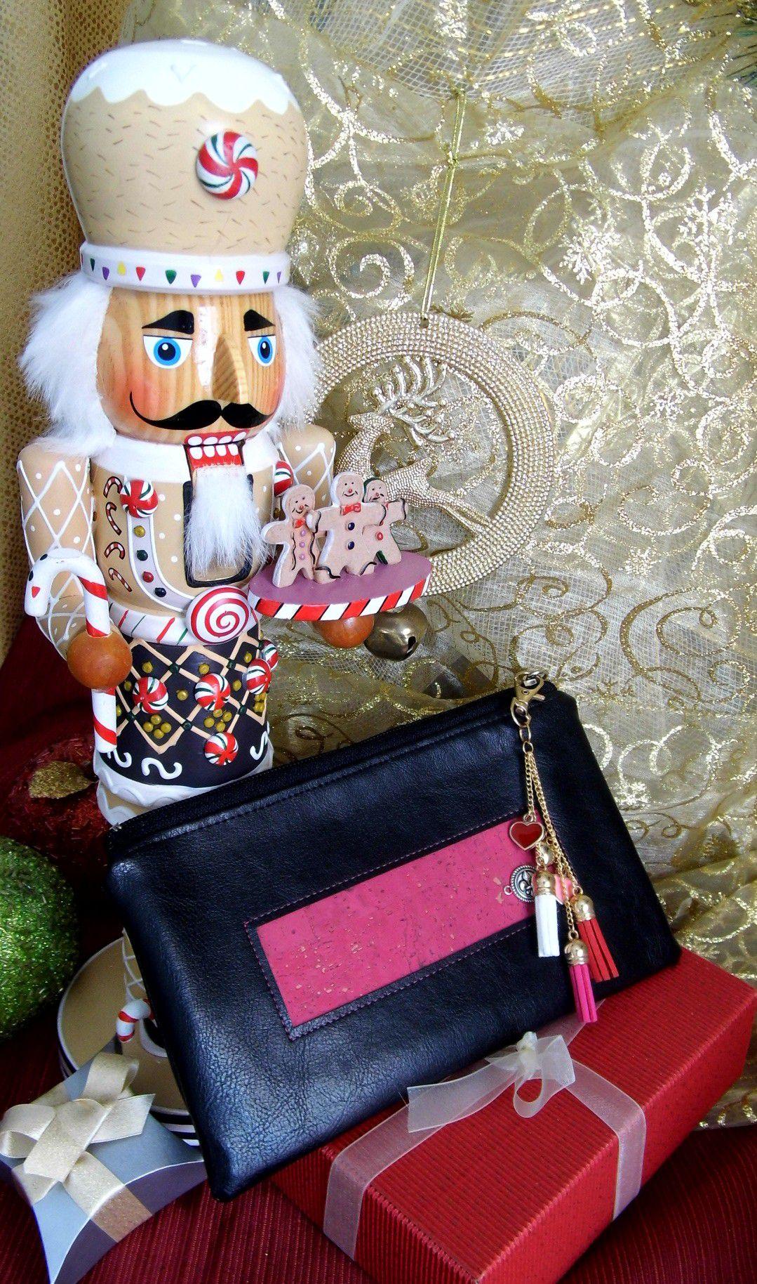 estyseller zipperpouch etsy passportpouch travelwallet corkleather pink black stockingfiller giftidea gennhaio fauxleather handmade veganleather tassels chrismas passportholder clutchbag
