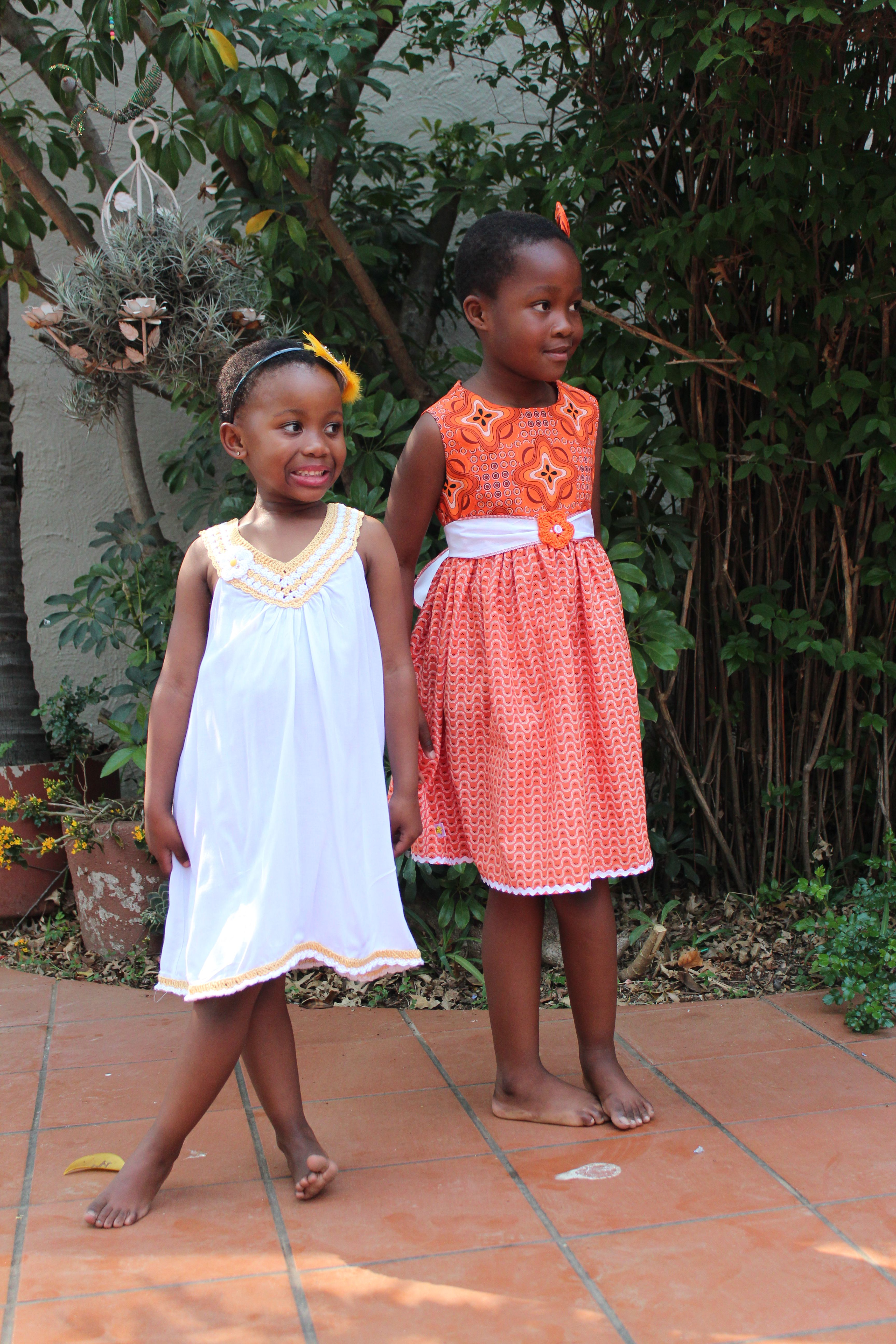 occasion african dresses special summer skirt tribal children cotton wide cloth dress print kids clothing girls orange ethnic fabric for party