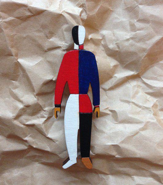 sportsman malevich brooch pin fashionwood