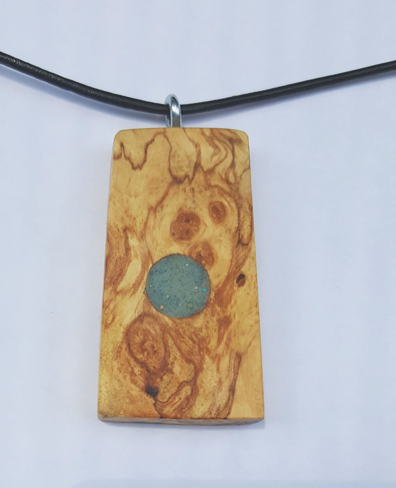 burl birch cord leather resin pendant epoxy necklace