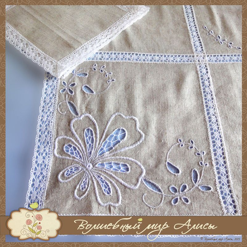 tablecloth interior flax beige embroidery