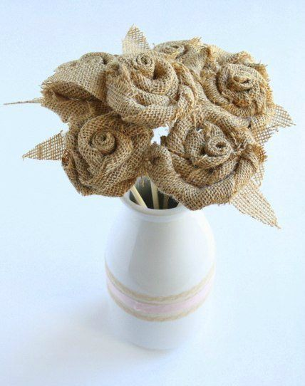 make vintage flowers roses burlap