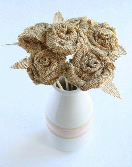 roses flowers vintage make burlap