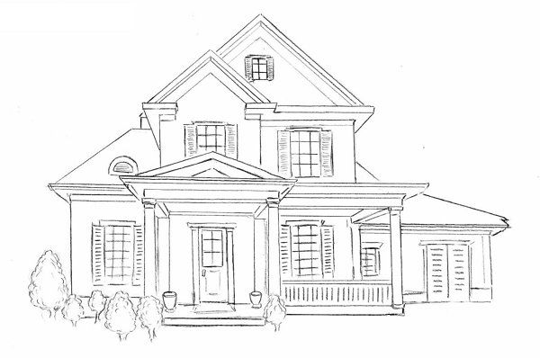 house draw pencil steps art