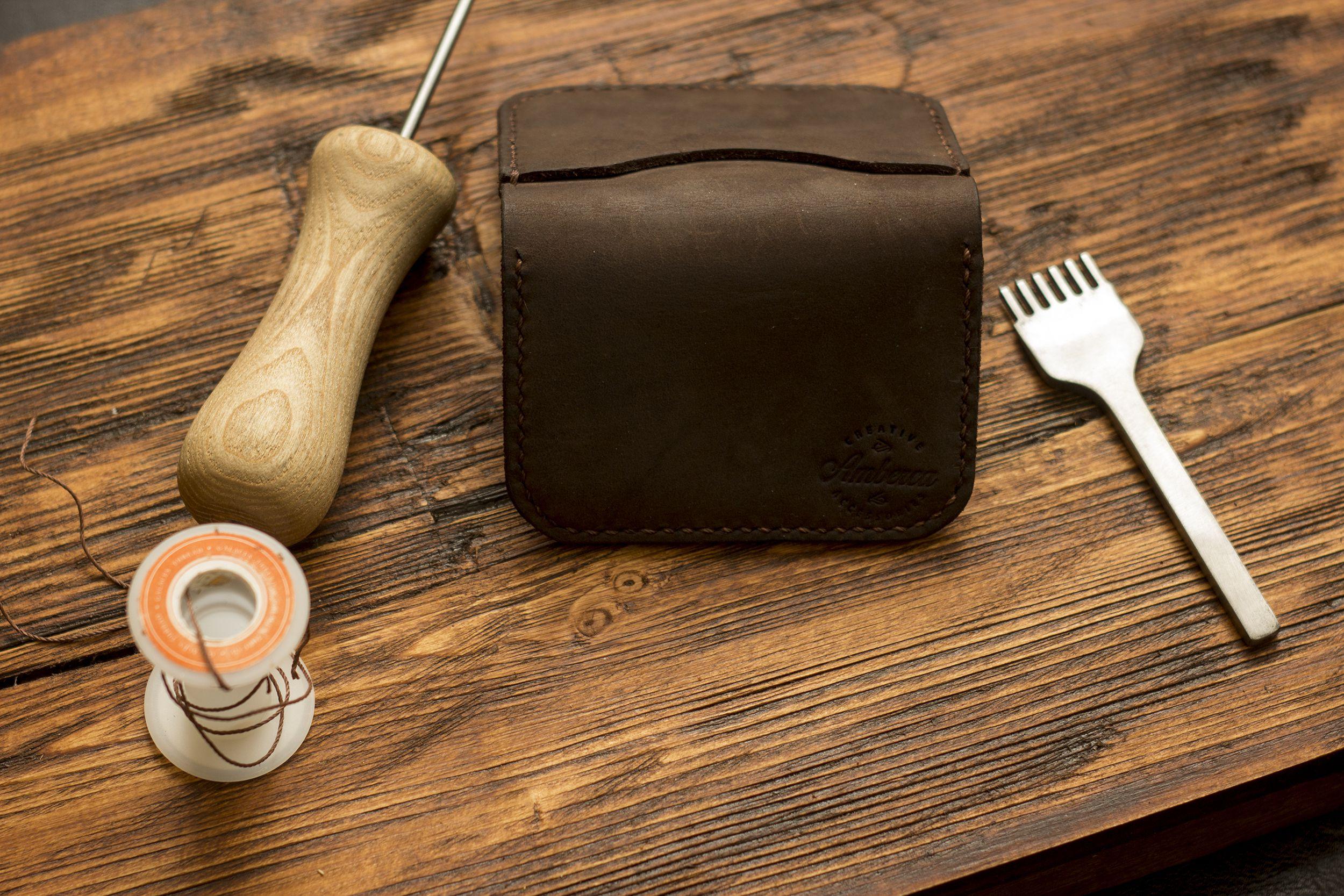 card leather case credit men handmade wallet holder for