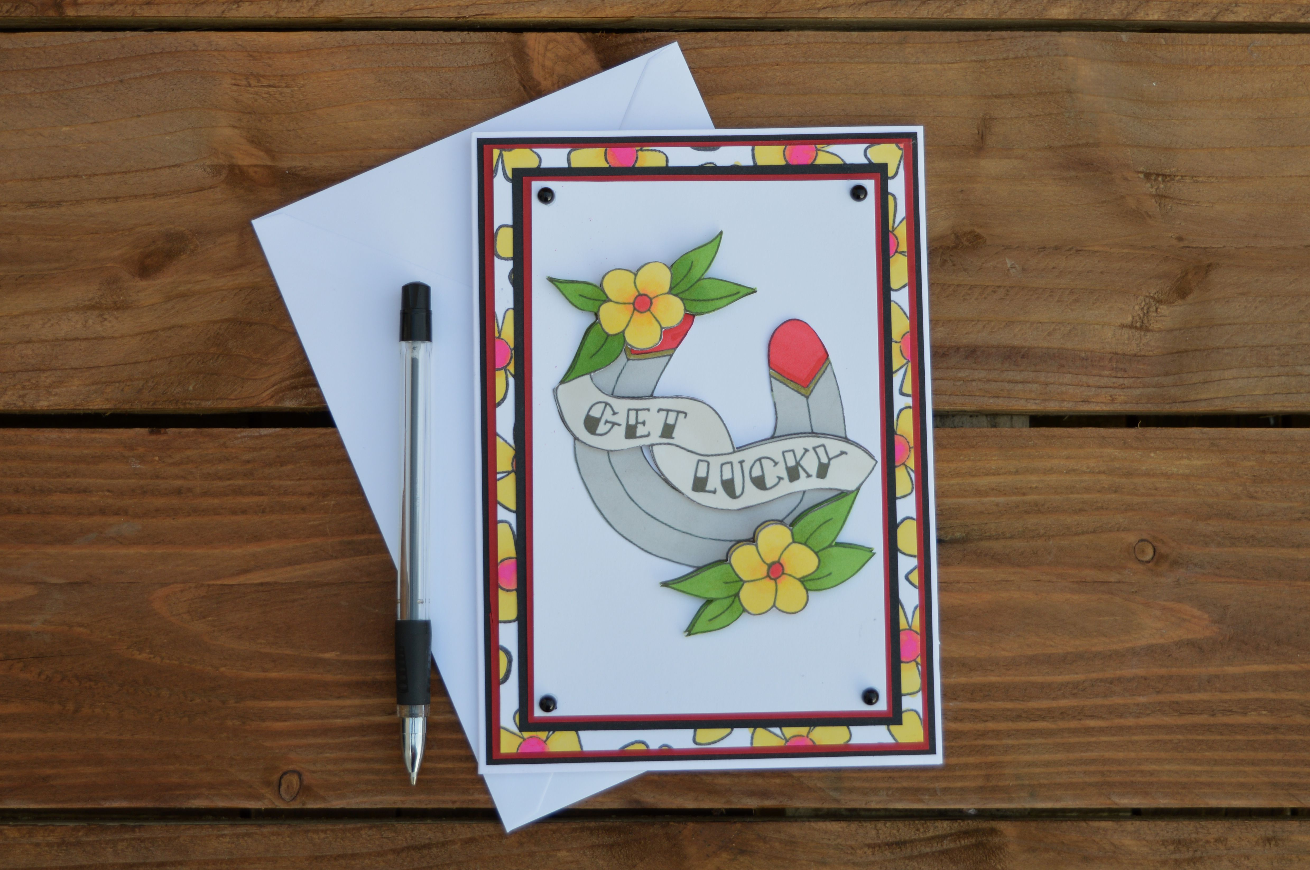 card illustration greetings get gift lucky cards papercraft horseshoe alternative horse tattoo art