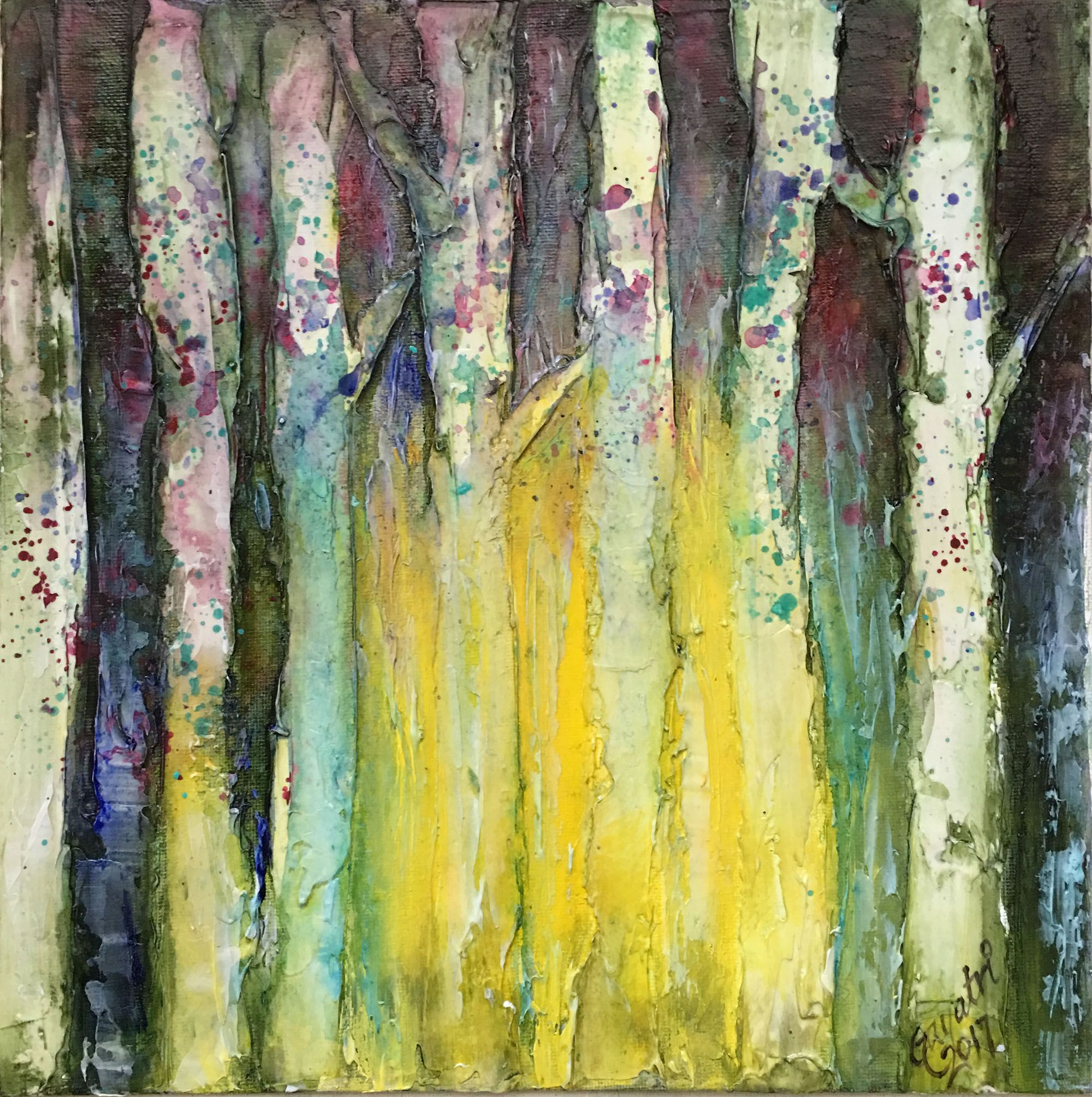 textured forest abstract art acrylic green trees