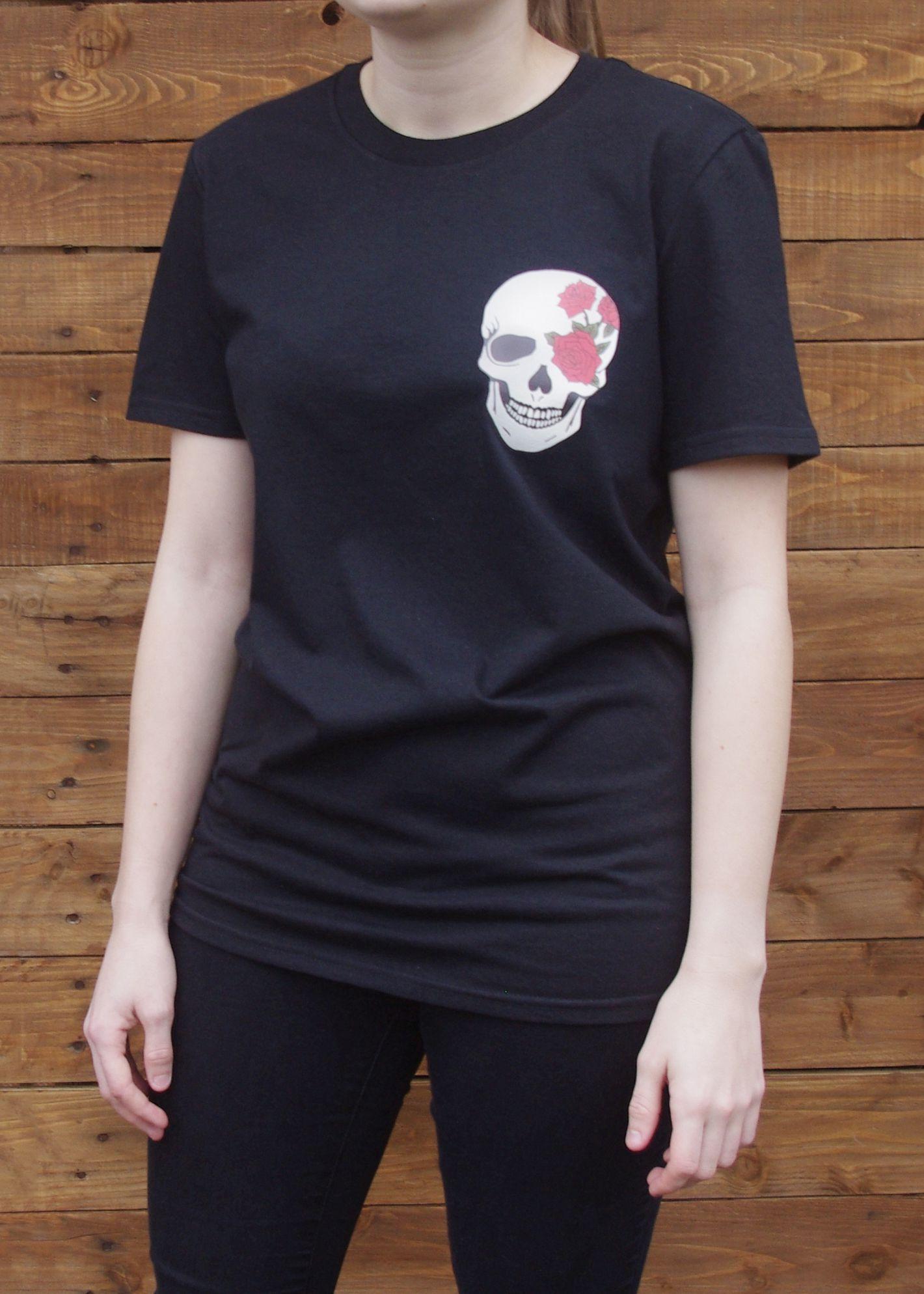 womens goth skull tee black mens outfit shirt skullgift alternative unisex tattoo art