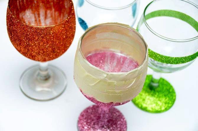 wine glasses decorate make manually