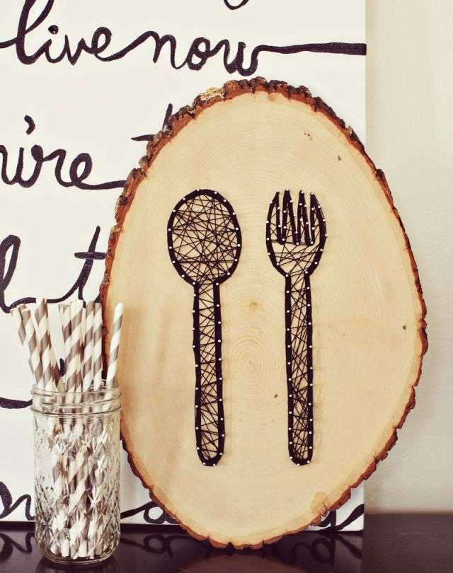 woodenhandicraft woodcut fork handmade wood decoration kitchen thread diy spoon